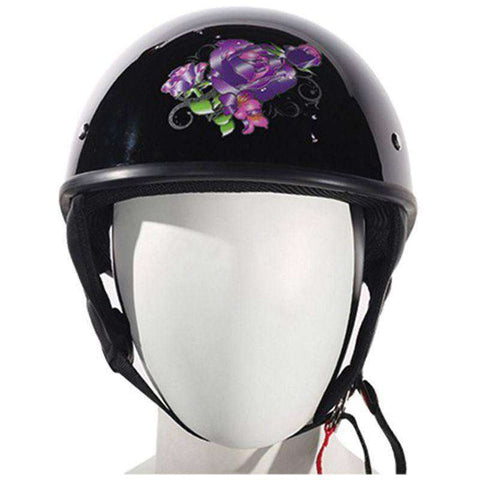 Helmet - Lo-Profile Purple Rose Helmet - Shiny