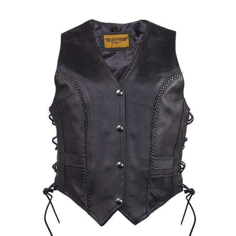 Women Leather Vest - Lady Rider Vest - Long
