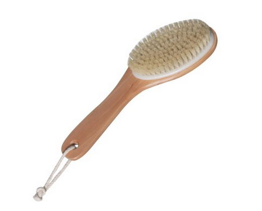 CLOSEOUT - Curved Handle Body Brush  - wrapped (large) - e1body & soul (beauty) (hair) (skincare) (haircare) (essential oils)  [natural beauty products] Shop 24/7 [Bath & Body Care]  Diffusers,