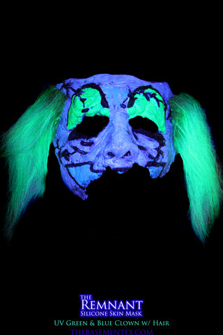 IN STOCK - The Remnant Silicone Mask - UV Green & Blue Clown w/Hair