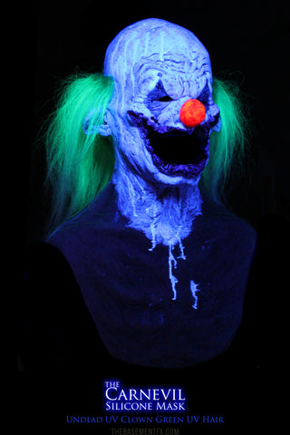 IN STOCK - The Carnevil Silicone Mask UV Undead Clown Green Hair
