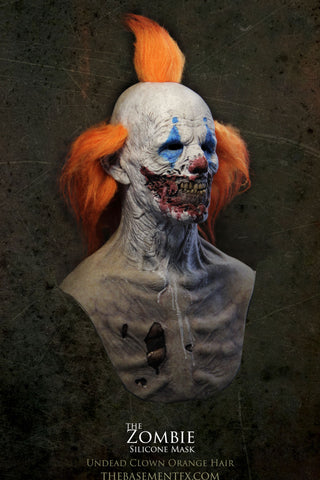 IN STOCK - The Zombie Silicone Mask UV Clown with Orange Hair