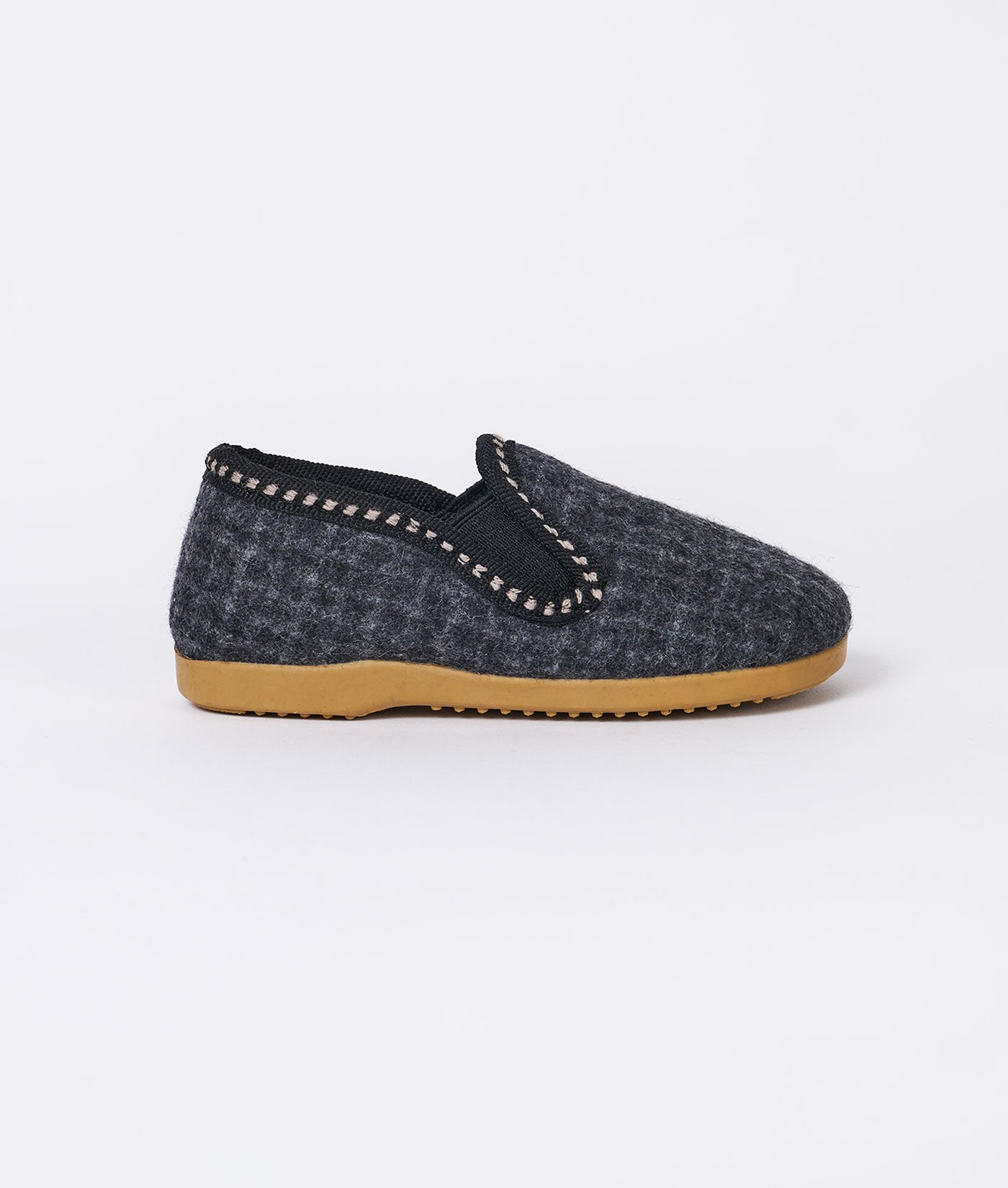 Industry of All Nations Kids Felt Wool Slippers Charcoal Checkered