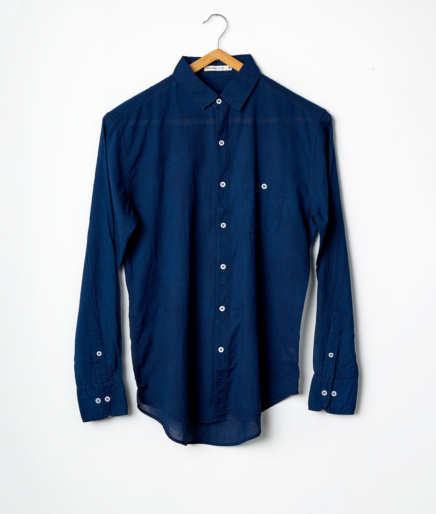Industry of All Nations Madras Organic Cotton Long Sleeve Button Down Shirt Indigo 12