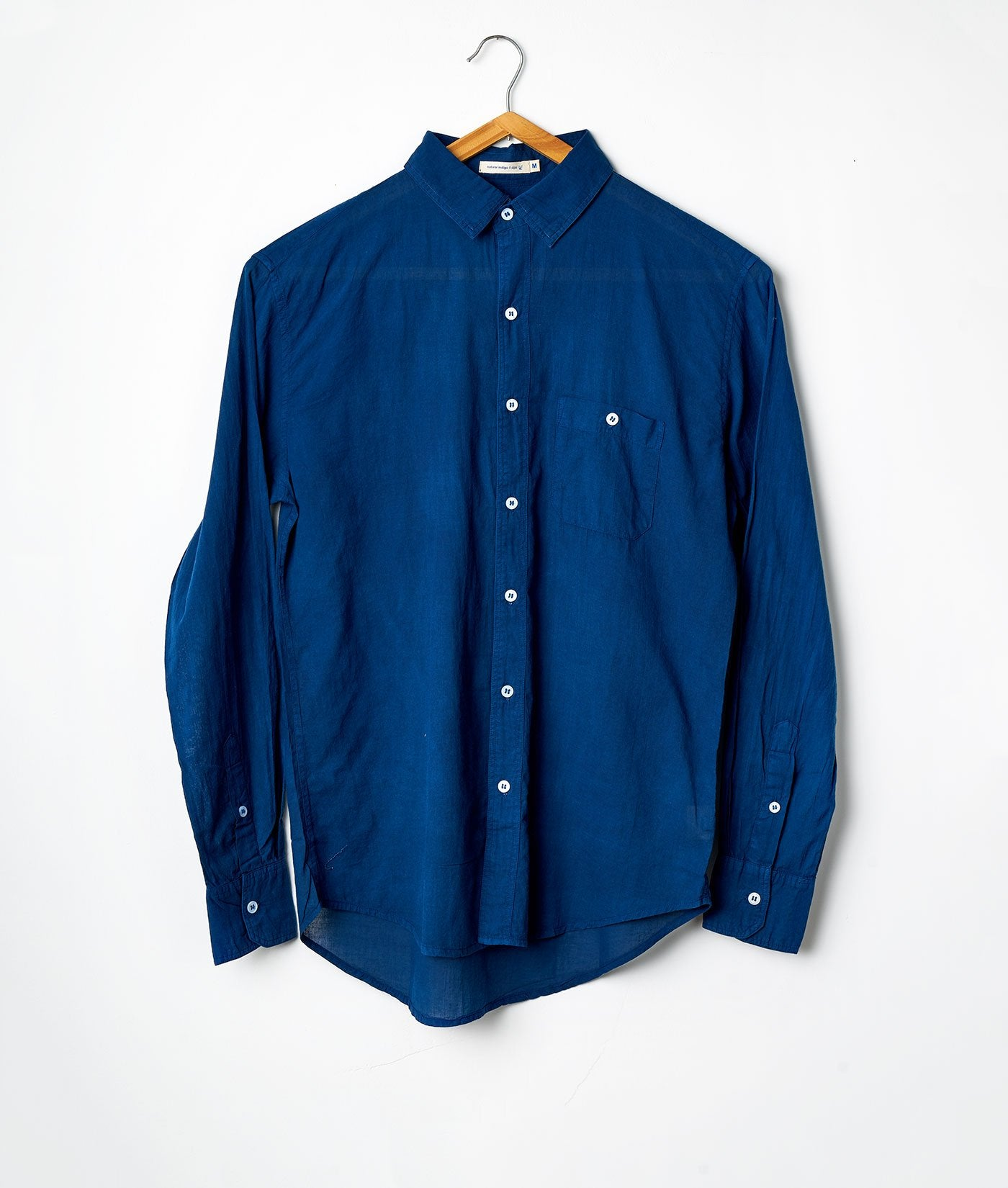 Industry of All Nations Madras Organic Cotton Long Sleeve Button Down Shirt Indigo 6