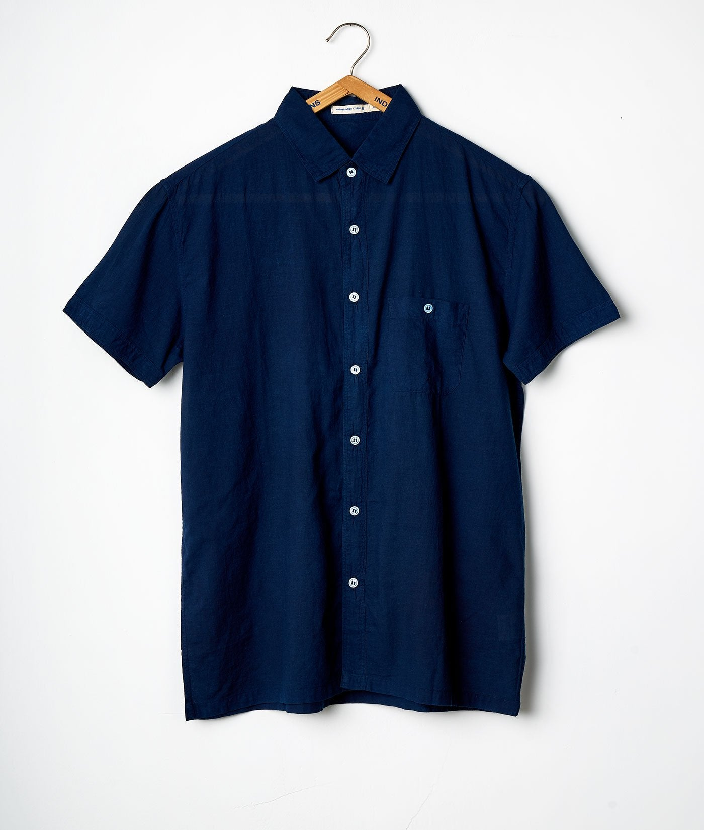 Industry of All Nations Madras Organic Cotton Short Sleeve Shirt Indigo 12