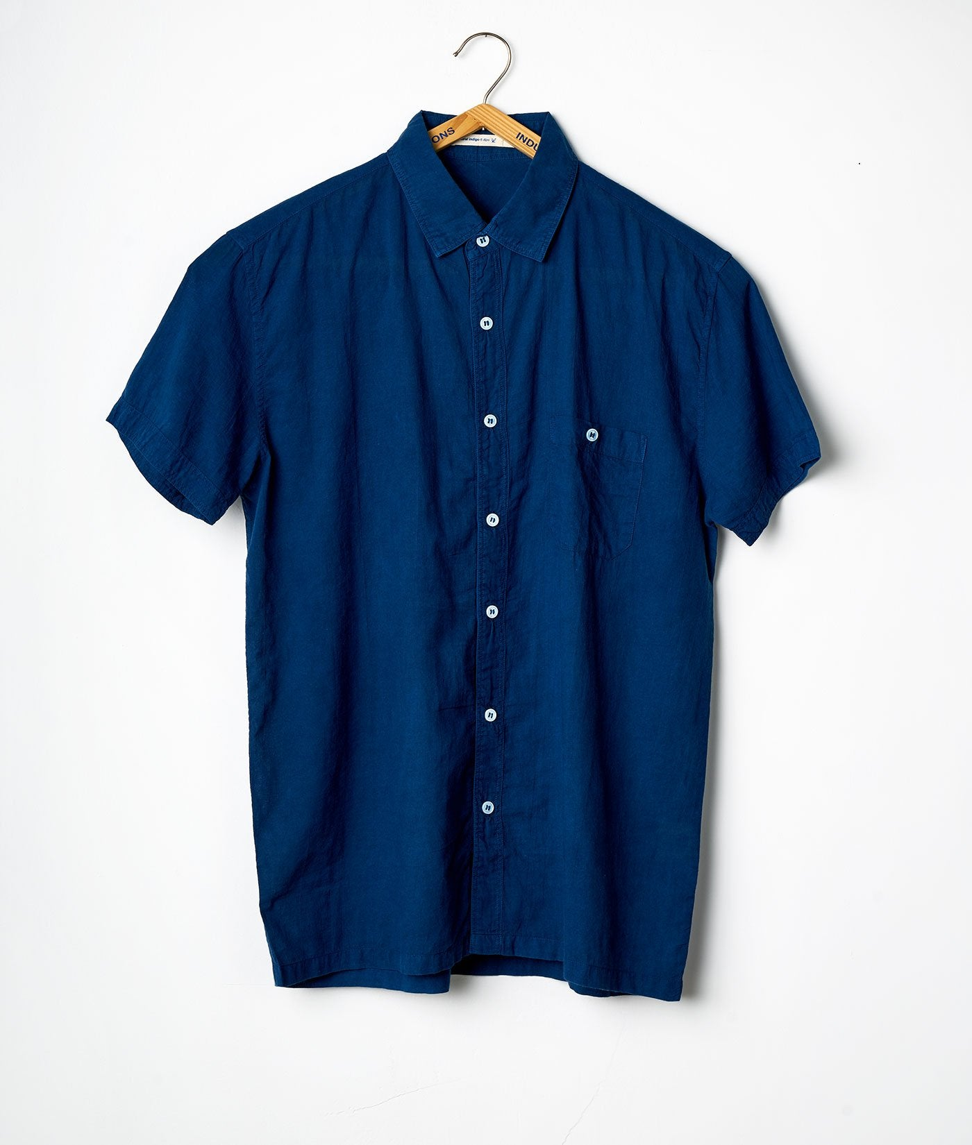 Industry of All Nations Madras Organic Cotton Short Sleeve Shirt Indigo 6