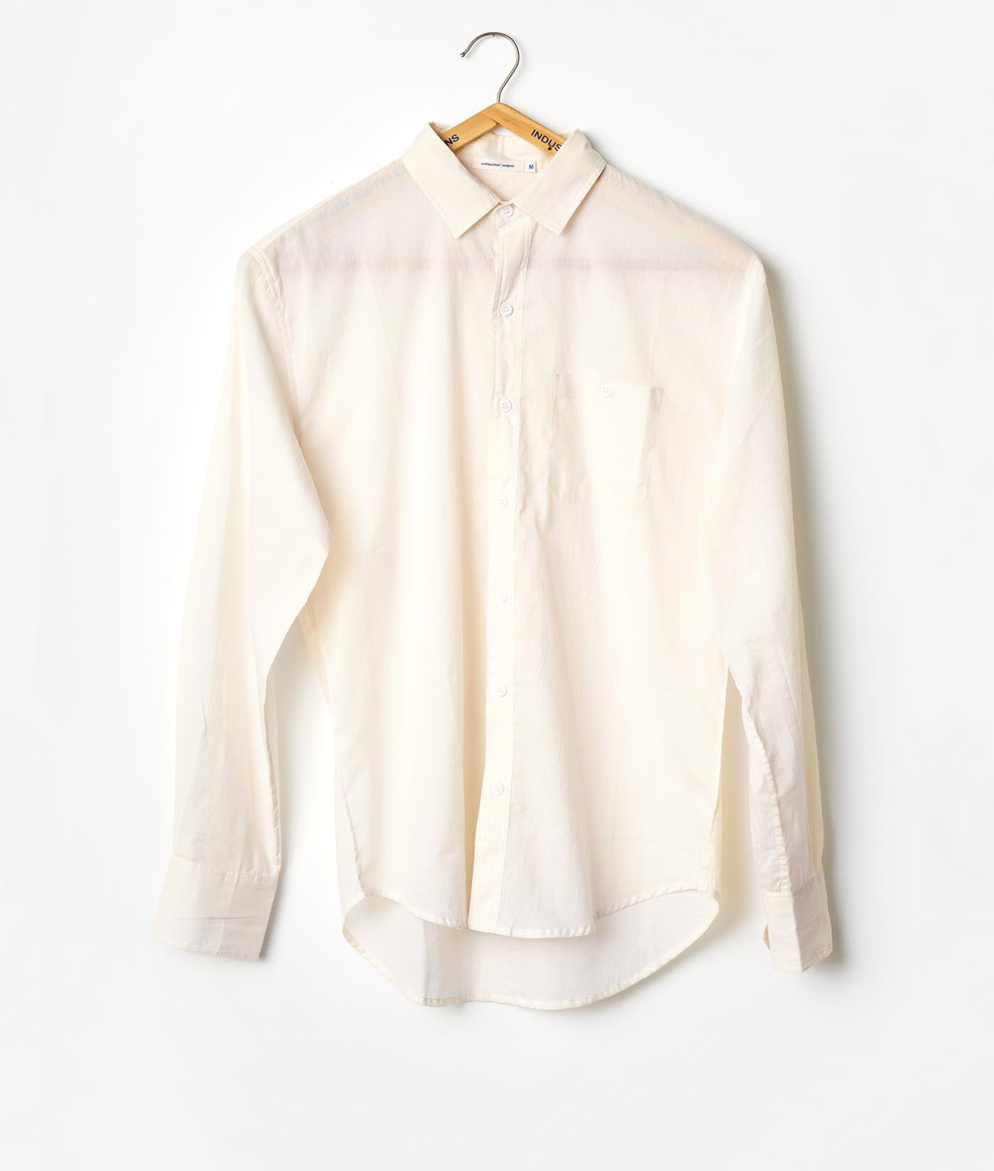 Industry of All Nations Madras Organic Cotton Long Sleeve Button Down Shirt Natural