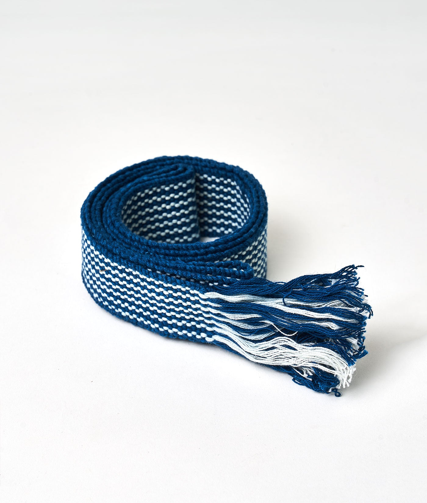 Industry of All Nations Faja Sustainable Woven Belt Indigo Stripes
