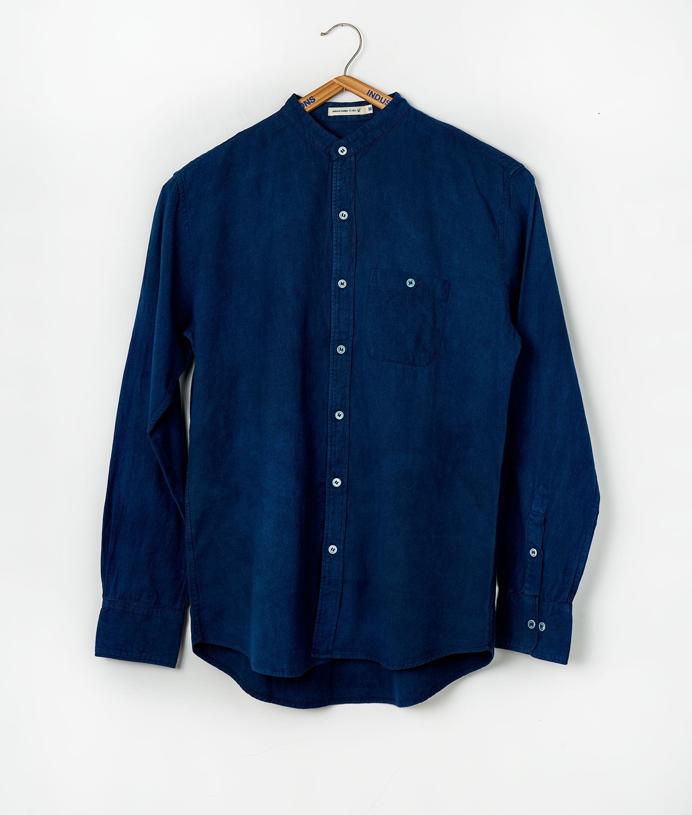 Industry of All Nations Mao Collar Shirt Indigo 12