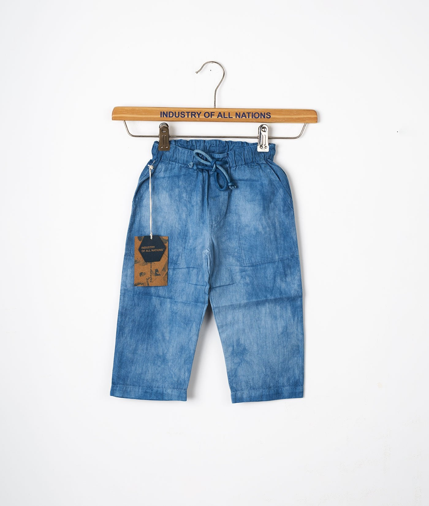 Industry of All Nations Organic Cotton Kids Drawstring Pants Indigo 2