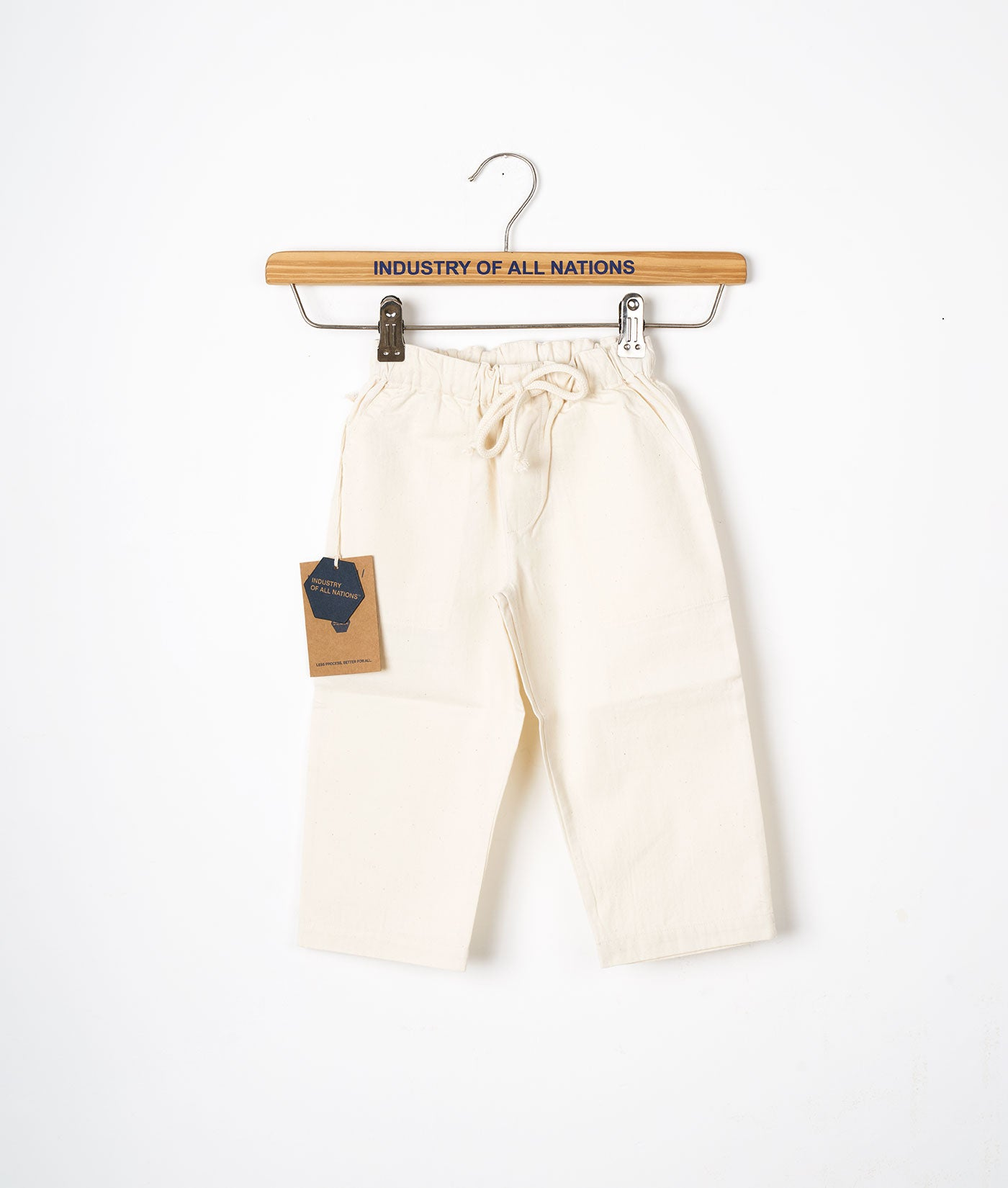 Industry of All Nations Organic Cotton Kids Drawstring Pants Undyed