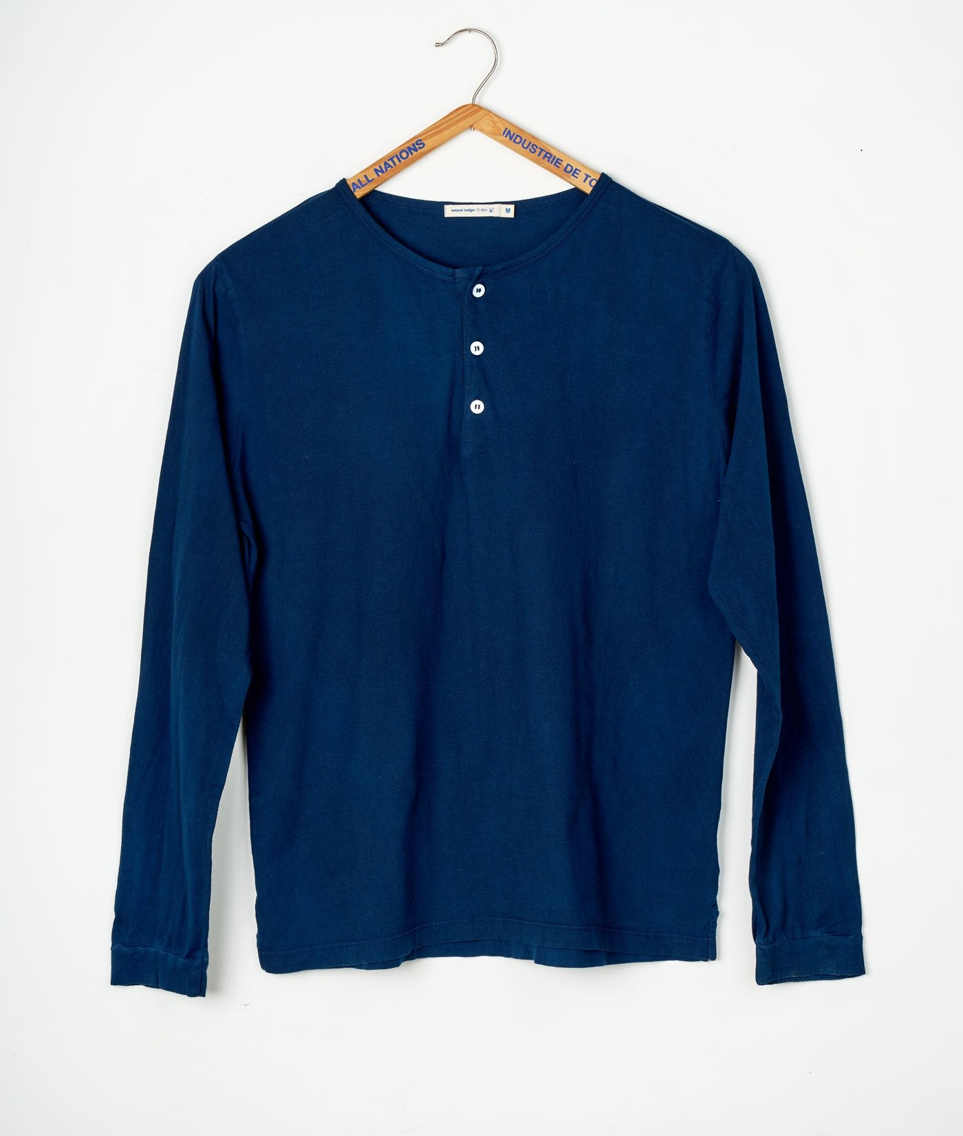 Industry of All Nations Organic Cotton Henley Long Sleeve Shirt Indigo 12