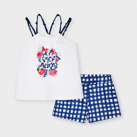 Mayoral Girl's Strappy T Shirt And Shorts Set