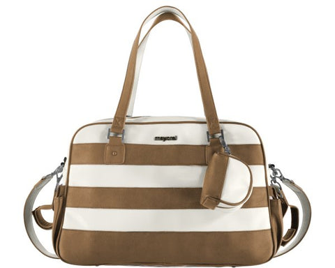 f9184459e1551 Mayoral Caramel And White Stripped Changing Bag With Dummy Holder