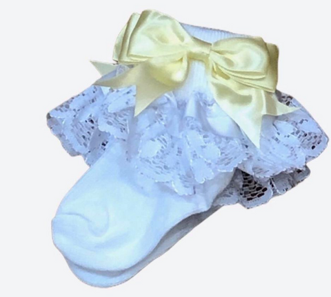 White& Lemon  Frilly Ankle Socks