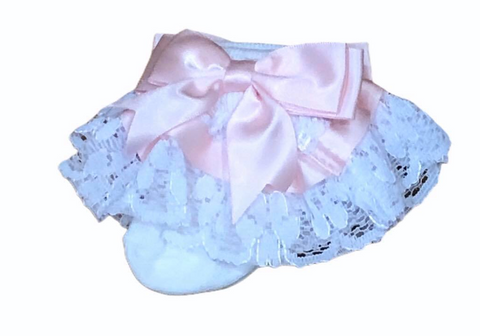 White & Pink Frilly Ankle Socks