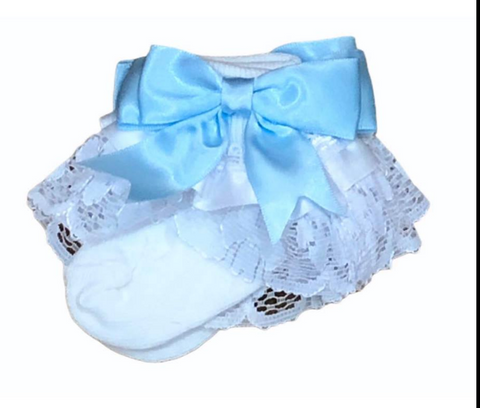 White & Blue Frilly Ankle Socks