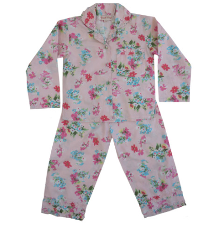 Powell Craft Girls Pink Floral Pyjamas