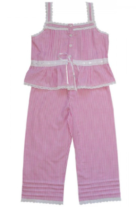 Powell Craft Pink and White Stripped Pyjamas