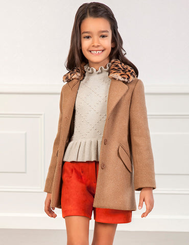 Abel & Lula Girl's Camel Coat With Faux Fur Collar