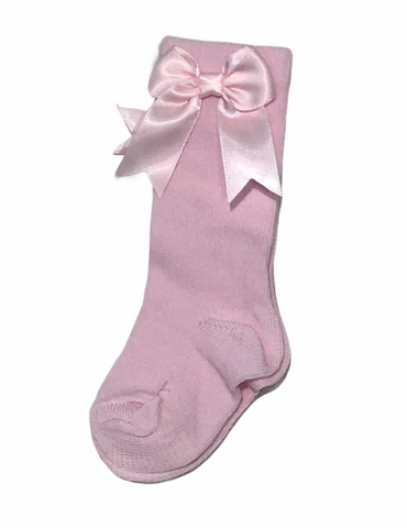Girl's Pink Knee High Bow Socks