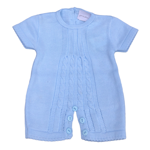 Dandelion Pale Blue  Knitted Short Sleeved Romper/Baby grow