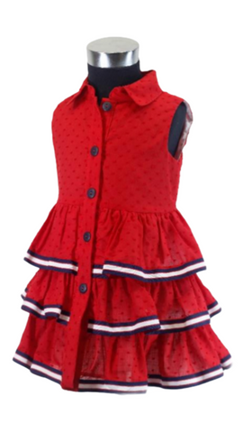 Basmarti Girl's Red, White And Blue Dress