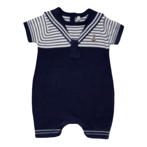 Baby Boy's Nautical Knitted Shortie Romper