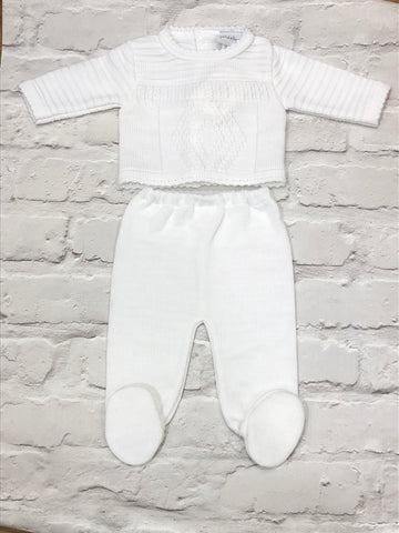 White Baby's Two Piece Knitted Set