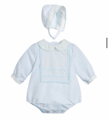 Miranda Baby Girl's Pale Blue Romper And Bonnet Set