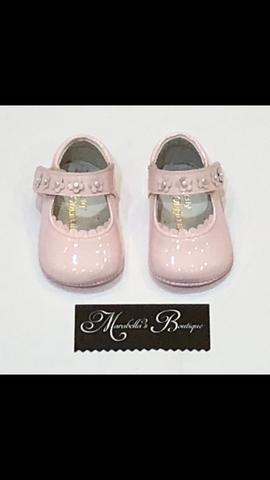 Pink Velcro Strap Pram Shoes