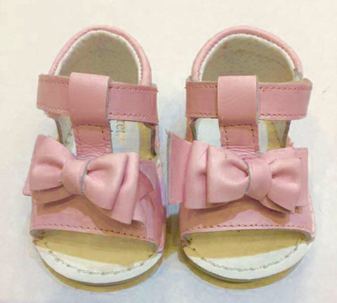 Pink Leather Bow Sandals