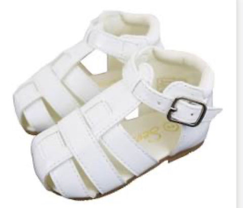 Sevva Baby Boys or Girls White Patent Buckle Sandal