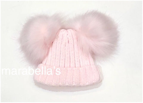 Pink Knitted Hat With Double Faux Fur Pom Pom