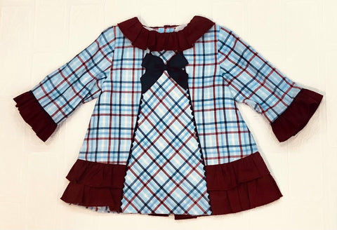 Miranda Baby Girl's Burgundy Collared Dress