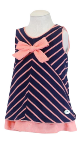 Basmarti Girl's Navy Striped Frilled Dress