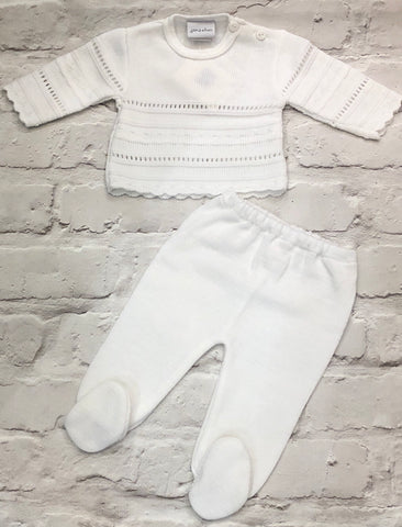Neutral Baby's White Two Piece Jumper And Knitted Leggings