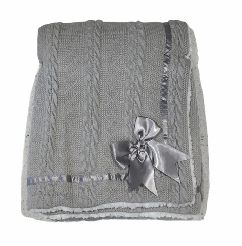 Baby's Grey Cheveron Cable Knit Blanket With Satin Trim And Bow