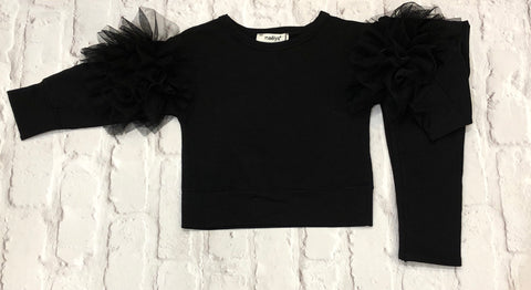 Girls Black Ruffled Arm Tracksuit