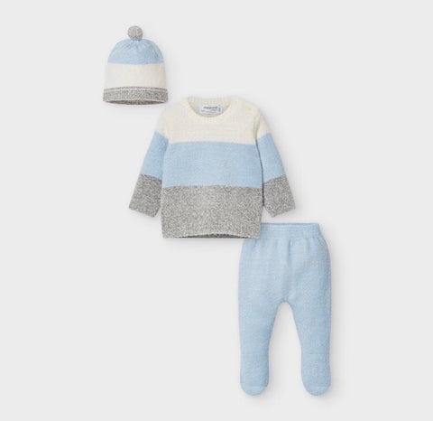 Mayoral Baby Boy's Pale Blue And Ivory Three Piece Knitted Set