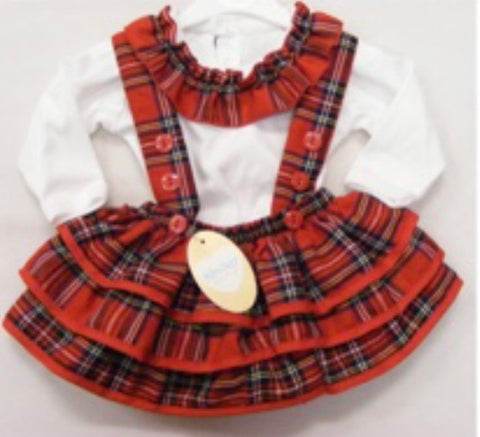 Baby Girl's Two Piece Tartan Skirt And Top Set