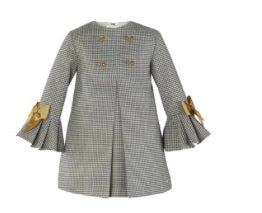 Miranda Girl's Grey And Gold Dress