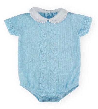 Sardon Baby Boy's Blue Knitted Romper With Peter Pan Collar
