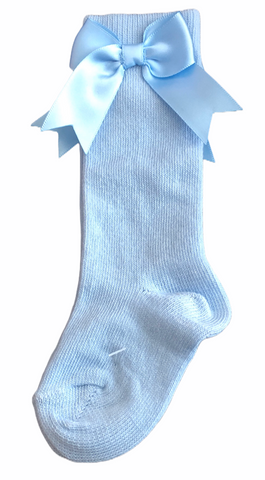 Girl's Pale Blue Knee High Bow Socks