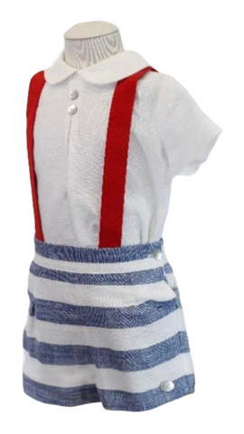 Basmarti Baby Boy's Two Piece Short Set With Red Braces