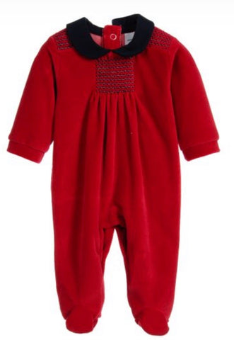 Babidu Red Smocked Velour Babygrow