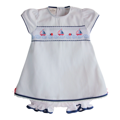 Pretty Originals Baby Girl's White Dress And Knickers  With Nautical Details