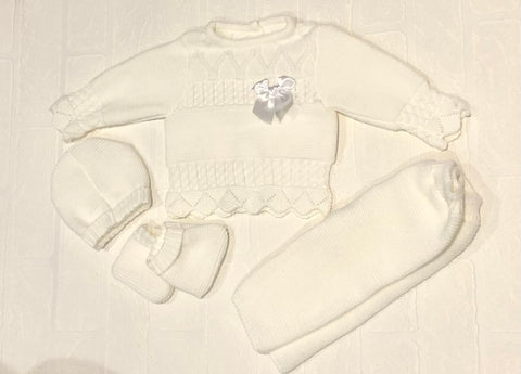 Baby Boy Or Girl's Four Piece White Knitted Set