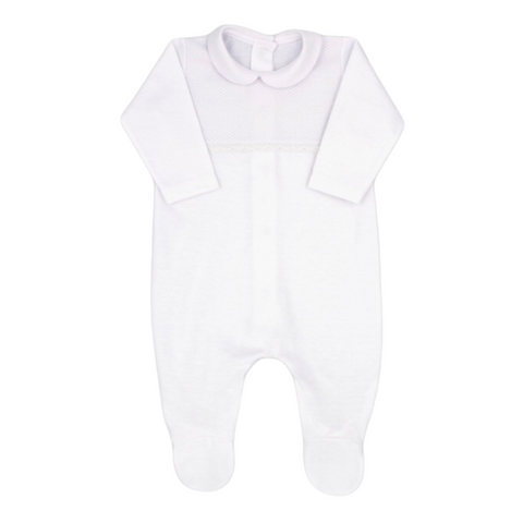 Rapife White Babygrow With White Collared Contrasting Bib